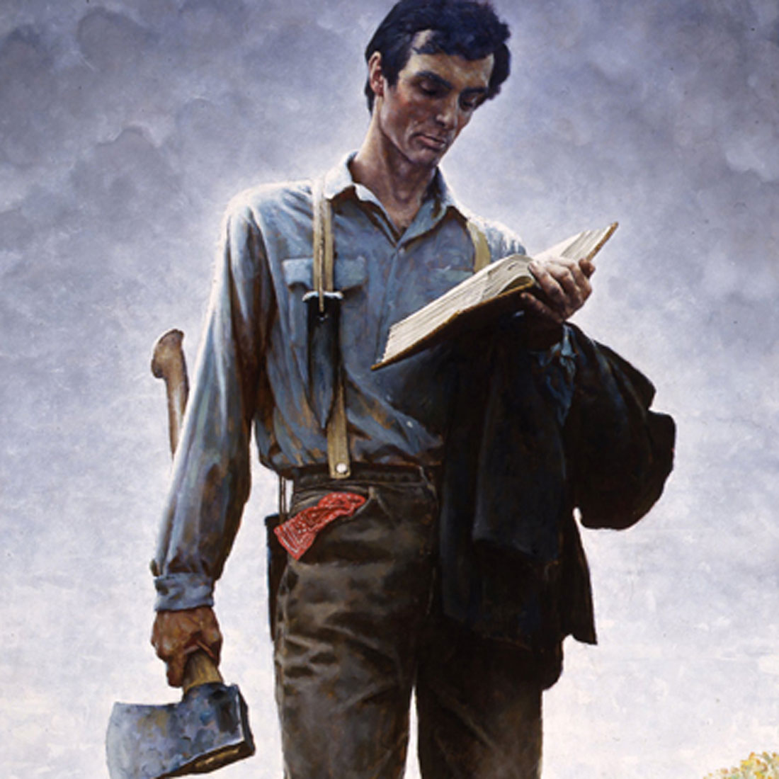 detail of president Lincoln with book and ax