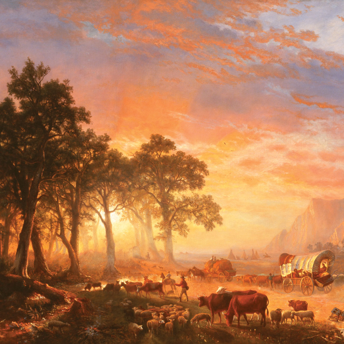 painting of western migration with livestock people and antique wagon
