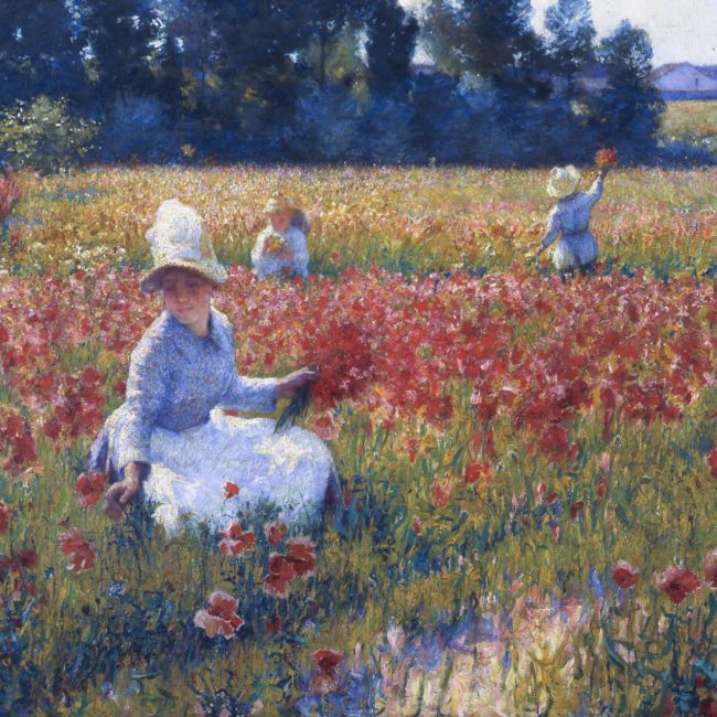 girls picking flowers in poesy field