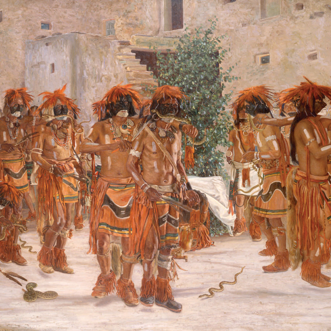 group of American Indians in ceremonial dress