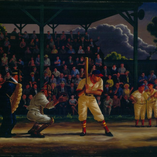 batter at home plate in baseball game with crowd behind