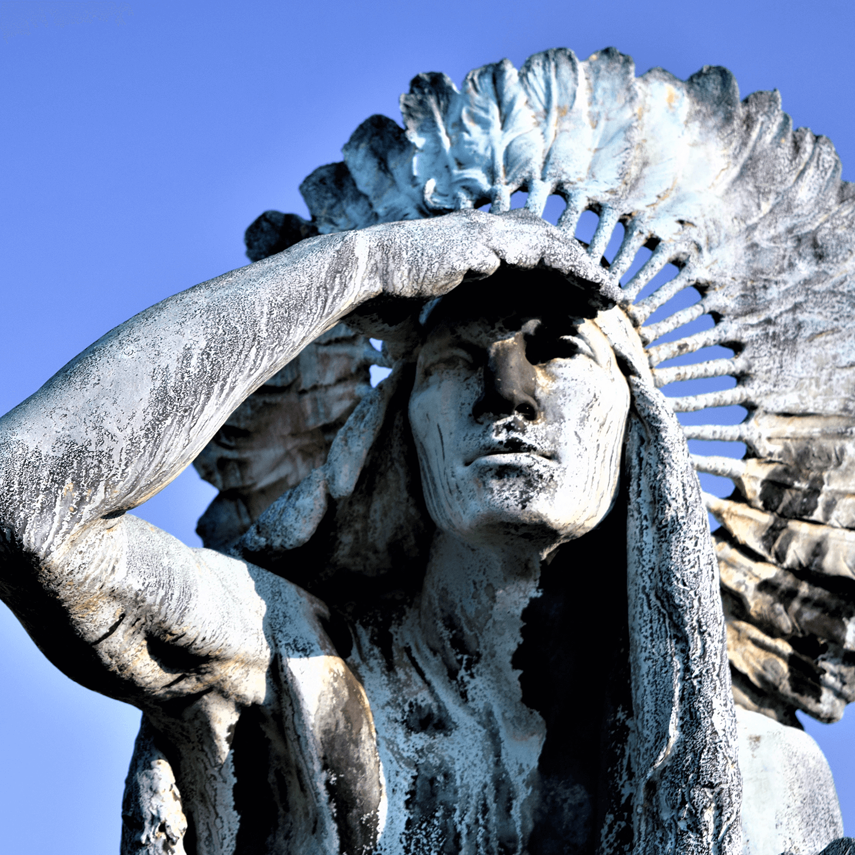 Sculpture of indian in front of Butler Meusuem