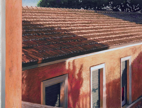 "Image of pastel painting titled ""From My Window, AAR, Rome #11. The painting depicts a view from a window looking out to the roof and 3 windows of a vibrantly peach colored building. The image is the cover image for the artist's exhibition catalog."