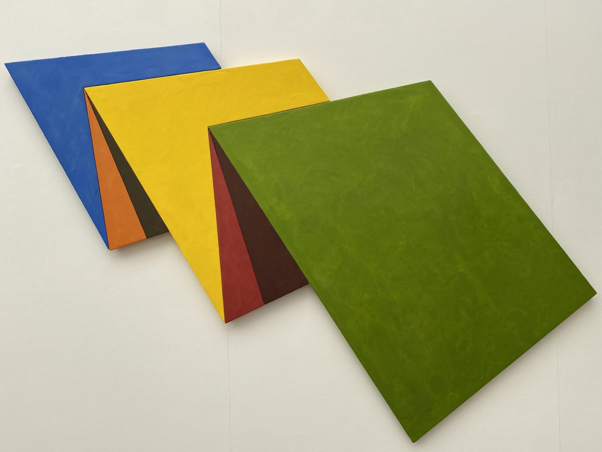 Image of Ronald Davis' art piece titled Five Panel Wave, 1996, encaustic on birch plywood, 57 by 82.5 inches