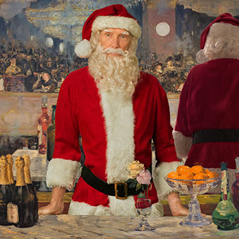 a digital rendering of santa in the famous painting by manet titled A bar at the Folies bergere