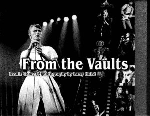 Black and white book cover with David Bowie on stage singing at a microphone stand with stage lights shining in the background and to the right a colage of smaller images of various rock starts performing