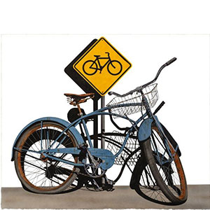 image of a watercolor painting featureing a blue bicycle parked up against a yellow bicycle symbol sign